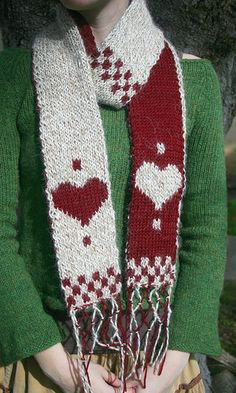 Valentine scarf, beginning double-knitting tutorial included, $3 pattern