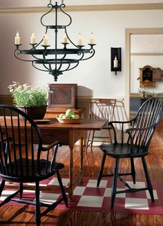 Wall Colors We Love for the Kitchen: Classic Kitchen Paint Color Scheme Dutch Boy: Colony Green, Durham Beige Trim Primitive Dining Rooms, Country Dining Rooms, Primitive Kitchen, Primitive Decor, Primitive Country, Americana Kitchen, Prim Decor, Primitive Furniture, Antique Furniture