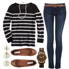 A fashion look from September 2013 featuring J.Crew sweaters, Koral jeans and Steve Madden flats. Browse and shop related looks.