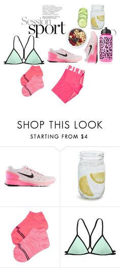 """""""#Running"""" by nygogi ❤ liked on Polyvore featuring NIKE, Sur La Table, Victoria's Secret, Beach Sexy and Victoria's Secret PINK"""