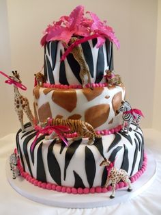 Safari Baby Shower Cake-Girl