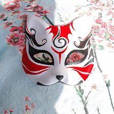 Hand-Painted Half Face Japanese Fox Mask Kitsune Cosplay Masquerade Halloween