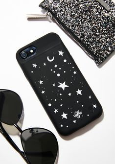 Valfré Star Power Charging Case cuz you're the star in their eyes. This black phone case has a built-in battery, snaps snugly onto your phone, and has a star print on the back.