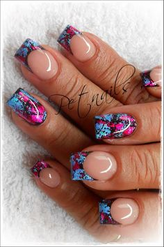 Pink, black, and blue nails. Fabulous Nails, Gorgeous Nails, Pretty Nails, Hair And Nails, My Nails, Acryl Nails, Manicure Y Pedicure, French Tip Nails, Super Nails