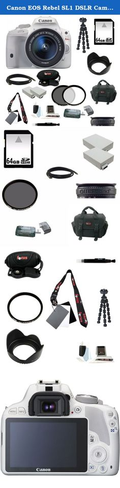 Canon EOS Rebel SL1 DSLR Camera with EF-S 18-55mm f/3.5-5.6 IS STM Lens (White) and 64GB Deluxe Accessory Kit. The white EOS Rebel SL1 DSLR Camera with EF-S 18-55mm f/3.5-5.6 IS STM Lens from Canon is a lightweight APS-C format digital SLR camera with an 18MP CMOS sensor and the DIGIC 5 image processor. It is combined with the 18-55mm f/3.5-5.6 lens for an effective range of wide-angle to standard focal length shooting options. The EOS SL1 provides sharp details, accurate colors and...