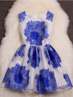 Blue flower dress; perfect for going to a play on broadway or anywhere like that