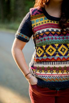 HOT on Ravelry! Knit this fantastic fair isle sweater with Lion Brand Vanna's Choice! Pattern by Abbye Dahl.