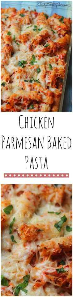 Chicken Parmesan Baked Pasta You need this recipe in your life! Super simple to make and frugal too! My whole family loved it Chicken Parmesan Baked Pasta Recipe from Budget Savvy Diva Chicken Parmesan Baked Pasta Recipe, Baked Pasta Recipes, Chicken Recipes, Balsamic Chicken, Roasted Chicken, Chicken Parmesan Casserole, Zoodle Recipes, Garlic Parmesan, Good Pasta Recipes