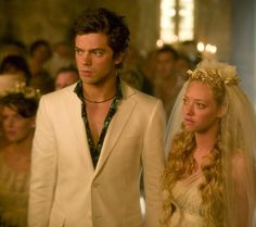 Amanda Seyfried as Sophie and Dominic Cooper as Sky in Universal Pictures' Mamma Mia! (2008)