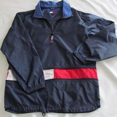 TOMMY HILFIGER Jacket Vintage 90's Sailing Windbreaker BLUE Large L Hidden Zip