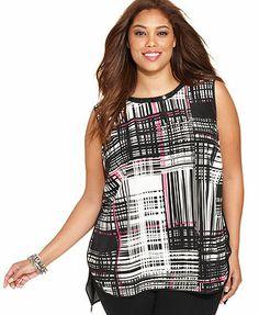 Vince Camuto Plus Size Studded Printed Sleeveless Blouse #plussizetops #plussizefashion #plussizeclothes #fatshion