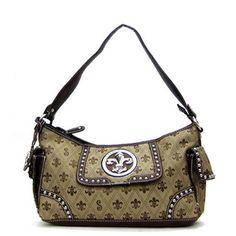 Brown Designer Inspired Fleur De Lis Handbag. $35.00 #fleurdelis.