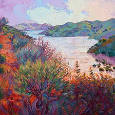 Paso Robles Painting - Lights On Whale Rock by Erin Hanson