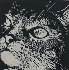 Cat Linocut on Japanese Kozuke paper (44gsm white) by Rowanne http://www.etsy.com/uk/people/Rowanne?ref=pr_profile http://www.rowanneanderson.com/ Tags: Linocut, Cut, Print, Linoleum, Lino, Carving, Block, Woodcut, Helen Elstone, Animals, Cat