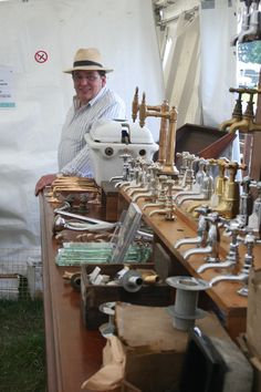 Reclaimed taps at Mongers architectural salvage Salvo Fair stand