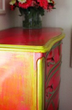 Interesting colours. Painted furniture.