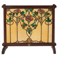 """Tobey Furniture Co., fire screen, Chicago, IL, circa 1905, mahogany, glass, lead, signed with unusual metal tag, 38.5""""w x 14""""d x 34.25""""h"""