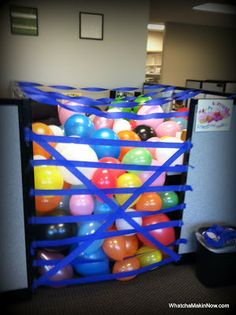 Birthdays and Butterfinger Rice Krispie Bars 11th Birthday, Boy Birthday Parties, Birthday Balloons, Birthday Fun, Birthday Ideas, Surprise Birthday, Cubicle Birthday Decorations, Desk Decorations, Office Fun