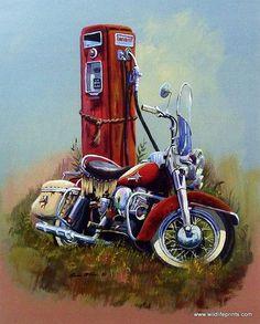 Dale Klee Vintage Motorcycle Texaco Fire chief pump art print