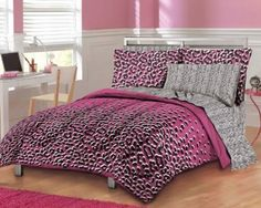 Pink Leopard Print Bedding - This would satisfy my Pink Leopard Print fetish :D