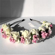 Flower Hairband Bridal Wedding Girl Hair Accessories Wreath for Kids Head Tiara Garland hh5006(China (Mainland))