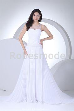Robe de mariée entrecroisée décoration perlée jupe plissée en mousseline de soie à traîne palais € 208.99