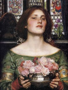 John William Waterhouse: Gather Ye Rosebuds While Ye May (detail) #art #painting #johnwilliamwaterhouse