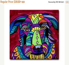 45% Off Today- Scottish Deerhound Dog Art Tile Dog art Tile Ceramic Coaster Mexican Folk Art Print of painting by Heather Galler dog