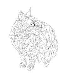 geometric cat Art Print by whoissue | Society6