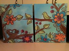 beginner paintings | Bird and Nest Paintings | Jenny Hall Art