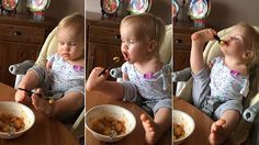 Mother Elmira Knutzen, from Russia, posted the video of her daughter determined to feed herself using her feet on Facebook.
