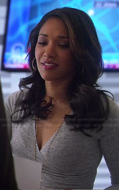 Iris's grey long sleeve dress on The Flash. Outfit Details: http://wornontv.net/45745/ #TheFlash