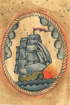 Dad has a painting of a clipper ship that's been in the family for years. Wanna tattoo of it kinda to resemble this.