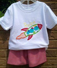 Rocket Boys personalized Appliqué Shirt & Matching Shorts via Etsy