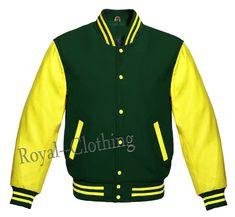 Letterman Baseball Varsity Jacket in Black Wool Genuine Yellow Leather Sleeves Green Wool, Blue Wool, Royal Shop, Leather Sleeve Jacket, Royal Clothing, Yellow Leather, Wool Blend, Baseball, Royals