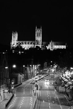 Lincoln Cathedral at night Lincoln Uk, Lincoln Cathedral, The Visitors, Britain, Times Square, Past, Places To Visit, Sidewalk, England