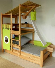 9 DIY Toddler Bed Ideas - Guide to choose the right toddler bed plans. 2019 Best DIY Toddler Bed Ideas transitioning Find out about getting the right timing to switch from toddler crib and more DIY toddler bed ideas which suits your needs. Toddler Bunk Beds, Diy Toddler Bed, Toddler Rooms, Kid Beds, Jungle Kids Rooms, Toddler Beds For Boys, Boy Toddler, Cool Beds For Kids, Cool Boy Beds