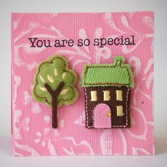NL House Tree Textured Stamped Mini Card