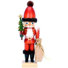 Santa Claus Nutcracker  Christmas Decorations (3.255 CZK) ❤ liked on Polyvore featuring home, home decor, holiday decorations, holiday figurines, christmas holiday decor, wooden figurines, christmas santa figurines and wooden christmas nutcracker