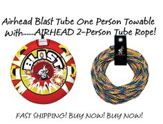 LABOR DAY SALE! Airhead Blast Tube One Person Towable WITH 2-Person Tube Rope…