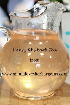 Honey Rhubarb Iced Tea    Ingredients:  8 stalks rhubarb, cut into 3 inch sections  8 cups water  1/3 cup honey (or sugar) to taste ( I did 1/3 cup honey and about 1/4 c sugar and we serve this with tons of ice to dilute)  mint for garnish (optiona