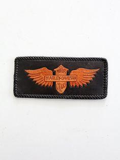 vintage 80s harley wallet / harley davidson black leather billfold