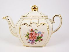 Vintage Sadler China Teapot Cube Shape by CuteAndSweetVintage