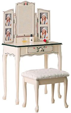 Cherry Tree Furniture Dressing Table Set Vanity Dresser With 3 Way