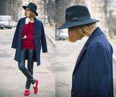 Customellow Coat, Sheinside Sweater, Choies Leather Pants, Sammy Dress Shoes