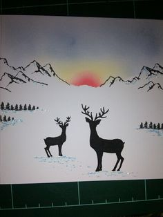Stag and mountain stamped christmas card with card-io majestix stamps and versa colour inks