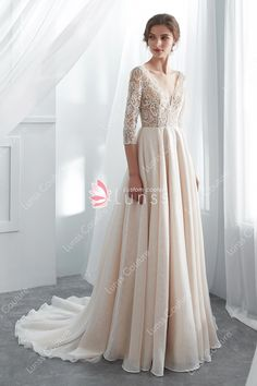 This luxury champagne chic & modern wedding dress features geometric beaded lace bodice with plunging V neckline, open back and sleeves, and flowing high-end organza skirt. Shown in Light Ivory/Champagne. Organza Wedding Gowns, Big Wedding Dresses, Cocktail Bridesmaid Dresses, How To Dress For A Wedding, Wedding Gowns With Sleeves, Affordable Wedding Dresses, Formal Dresses For Weddings, Bridal Dresses, Lace Wedding