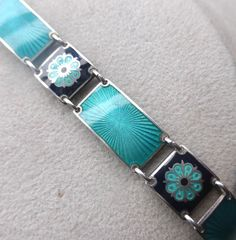Traumhaft schönes ART DECO Armband, Guilloche Emaille, Silber 925, emailliert
