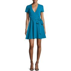 Alice + Olivia Adrianna Short-Sleeve Mock-Wrap Dress ($159) ❤ liked on Polyvore featuring dresses, turquoise, blue short sleeve dress, flared skirts, short sleeve wrap dress, fit and flare dress and circle skirt