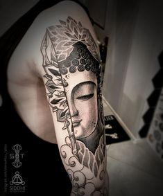 Blackwork tattoo on shoulder by Nikita Sherouhov Buddha Lotus Tattoo, Buddha Tattoos, Leg Sleeve Tattoo, Shoulder Tattoo, Leg Sleeves, Mandala Design, Tattoo Photos, Tattos, Tattoo Inspiration